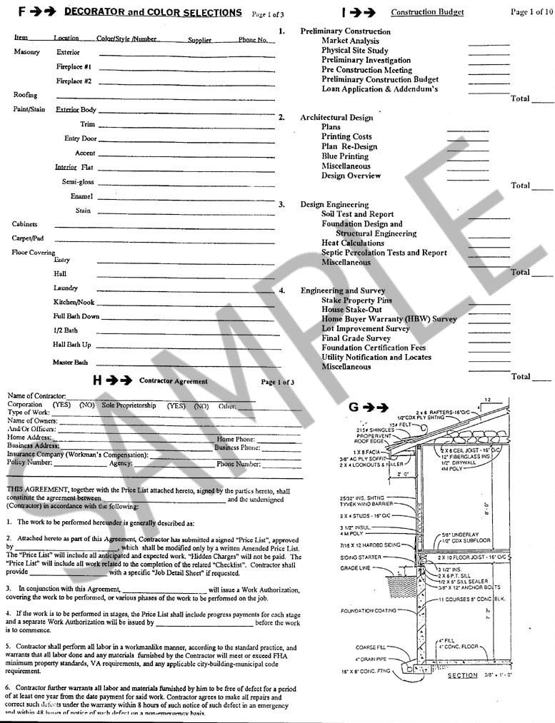 Sample pages for New home construction selection sheet